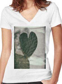 Padded Heart Women's Fitted V-Neck T-Shirt