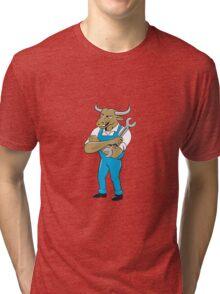 Bull Mechanic Spanner Standing Cartoon Tri-blend T-Shirt