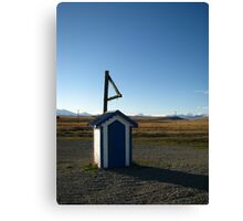 Blue Postbox Portrait Canvas Print