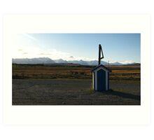 Blue Postbox Landscape Art Print