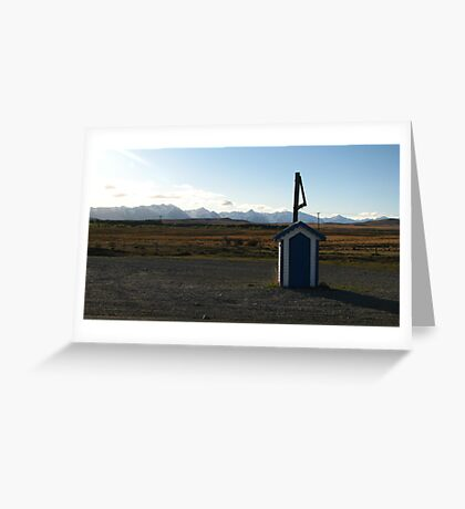 Blue Postbox Landscape Greeting Card