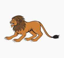Angry Lion Crouching Side Cartoon by patrimonio