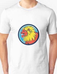 Angry Lion Head Roar Circle Cartoon T-Shirt