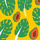 leaves, papayas, yellow background by Edie Johnston