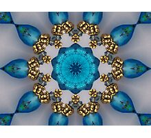 Blue and Gold Kaleidoscope Photographic Print