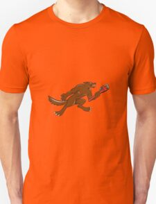 Wolf Plumber Monkey Wrench Isolated Cartoon T-Shirt