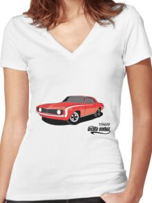 Red 69 Camaro Women's Fitted V-Neck T-Shirt