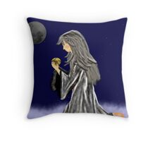 Kneeling Moon Child Throw Pillow