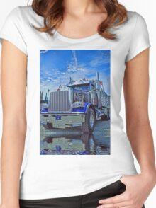 Black & Blue Peterbilt Dumptruck Women's Fitted Scoop T-Shirt
