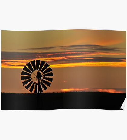 Sunset Windmill 1 Poster