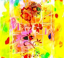 Yellow Red Flowers Lemons Limes Abstract by Ian Mooney