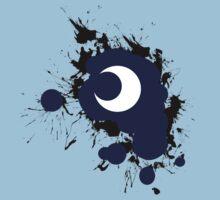 Lunar Splat (black paint, white background) Kids Tee