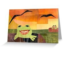 Frogs on Logs Collage Greeting Card