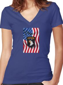 101st Airborne - American Flag Women's Fitted V-Neck T-Shirt