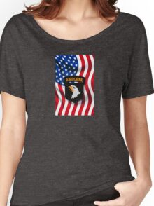 101st Airborne - American Flag Women's Relaxed Fit T-Shirt