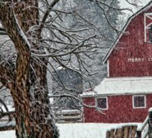 Snowing at the Red Barn Sticker