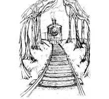 Wooden Railway , Pencil illustration railroad train tracks in woods, Black & White drawing Landscape Nature Surreal Scene by IrenesGoodies
