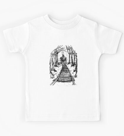Wooden Railway , Pencil illustration railroad train tracks in woods, Black & White drawing Landscape Nature Surreal Scene Kids Tee