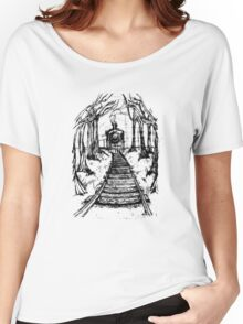 Wooden Railway , Pencil illustration railroad train tracks in woods, Black & White drawing Landscape Nature Surreal Scene Women's Relaxed Fit T-Shirt