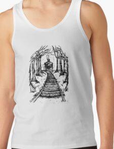 Wooden Railway , Pencil illustration railroad train tracks in woods, Black & White drawing Landscape Nature Surreal Scene Tank Top