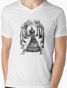Wooden Railway , Pencil illustration railroad train tracks in woods, Black & White drawing Landscape Nature Surreal Scene T-Shirt