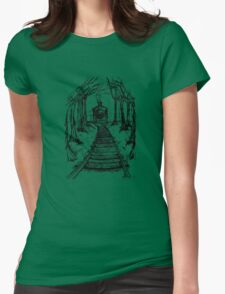 Wooden Railway , Pencil illustration railroad train tracks in woods, Black & White drawing Landscape Nature Surreal Scene Womens Fitted T-Shirt