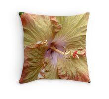 orange and yellow hibiscus Throw Pillow