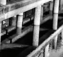 Pier Patterns Reflections in Black and White Sticker