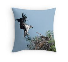Osprey Dropping In Throw Pillow
