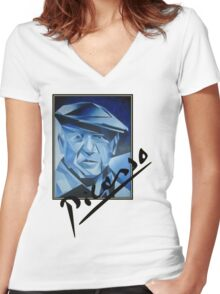 Picasso's Signature Women's Fitted V-Neck T-Shirt