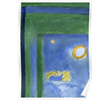 Corner of a window in green and blue. Acrylic Abstract Painting Poster