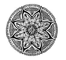 Black and White MANDALA. Hand draw  ink and pen on textured paper by Sviatlana Kandybovich