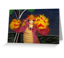 Furry Baby Dragon at Twilight Greeting Card