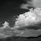 Cloudscape over the Sandia Mountains, in Monochrome by TheBlindHog