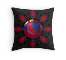 Red Nude at Sunrise on Black Throw Pillow