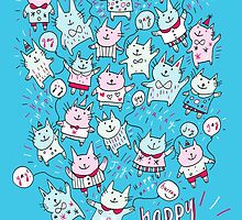 Happy Party Cats by Scruffworld