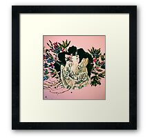 woman and prehistorical plant Framed Print