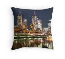 Melbourne at Night - Yarra River Throw Pillow