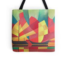 Cubist Abstract of Junk Sails and Ocean Skies Tote Bag