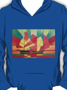 Cubist Abstract of Junk Sails and Ocean Skies T-Shirt