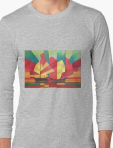Cubist Abstract of Junk Sails and Ocean Skies Long Sleeve T-Shirt