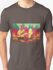 Cubist Abstract of Junk Sails and Ocean Skies Unisex T-Shirt