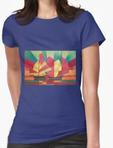 Cubist Abstract of Junk Sails and Ocean Skies Womens Fitted T-Shirt