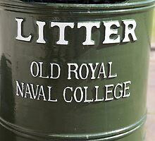 Litter bin in the old Royal Naval college in Greenwich by Keith Larby