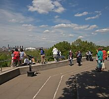 People taking in the view over london from Greenwich Park by Keith Larby