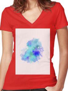 Blue Inkblot Spray  Women's Fitted V-Neck T-Shirt