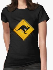 Kangaroo road sign Womens Fitted T-Shirt