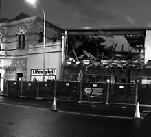 Destruction of RSL at night Black and White by David Hill