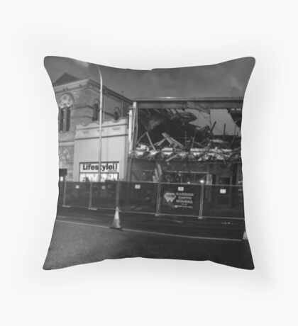 Destruction of RSL at night Black and White Throw Pillow