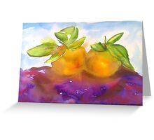 Watercolour Alla Prima Manderines Greeting Card